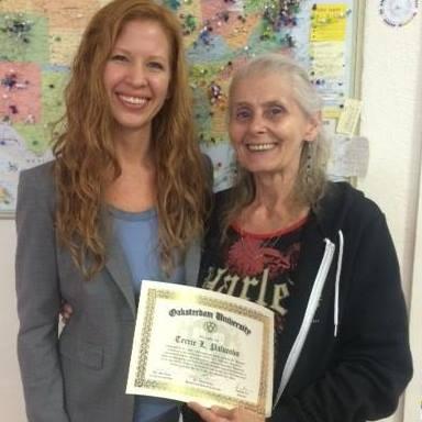 Dale Sky Jones and Terrie Palumbo receiving the Horticulture Class Valedictorian Certificate